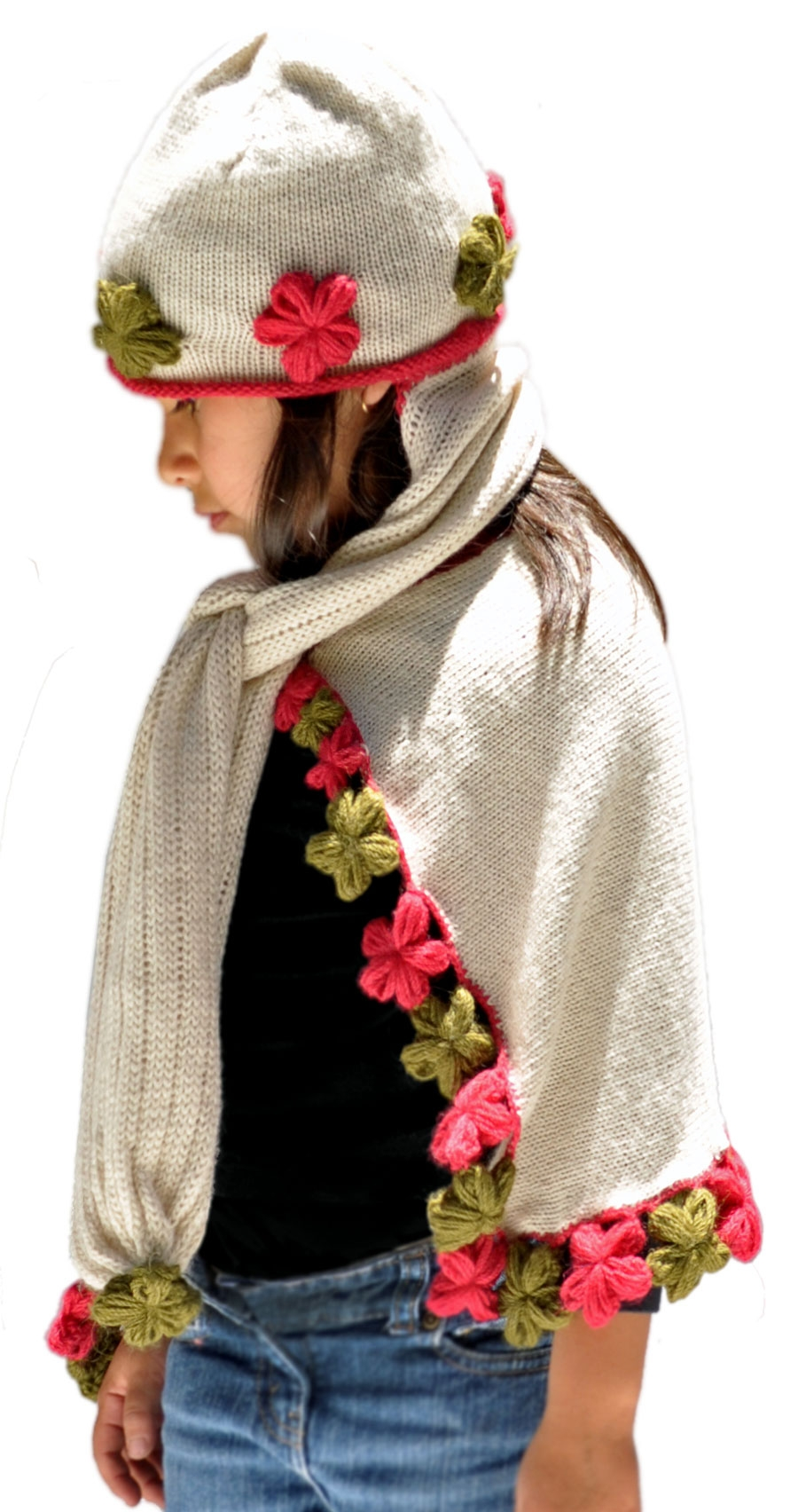 ... gorro-bufanda para niña - lana de alpaca. Blanco crudo. Loading zoom 3647f103a46